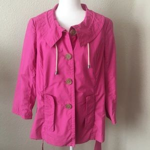 J. CREW LIGHTWEIGHT HOT PINK BELTED TRENCH COAT